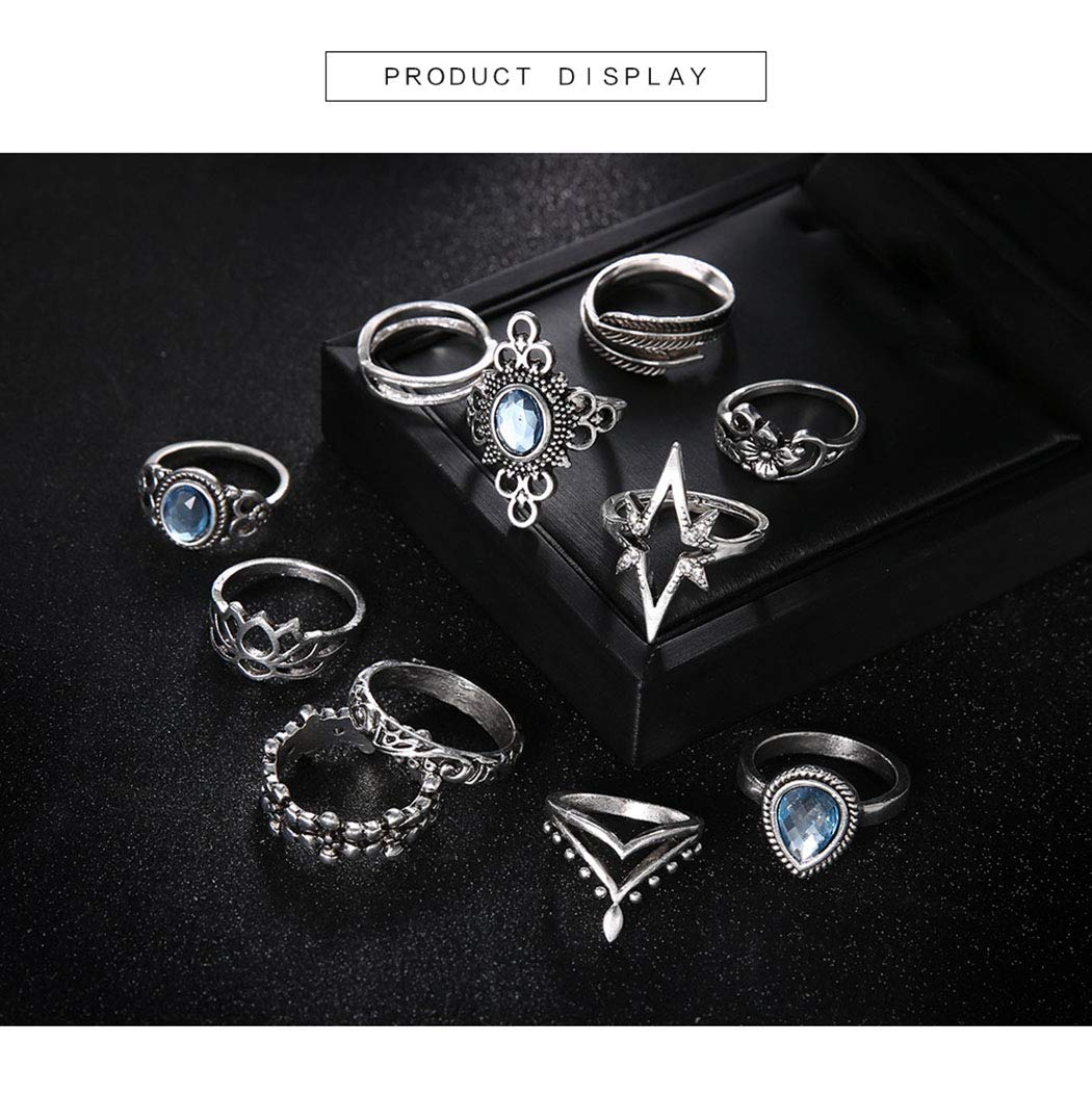 11 Pcs CanB Vintage Mid Ring Set Boho Stackable Rings Crown Knuckle Rings Set Crystal Mid Ring Set Silver Finger Ring Set Fashion Joint Ring Jewelry for Women and Girls