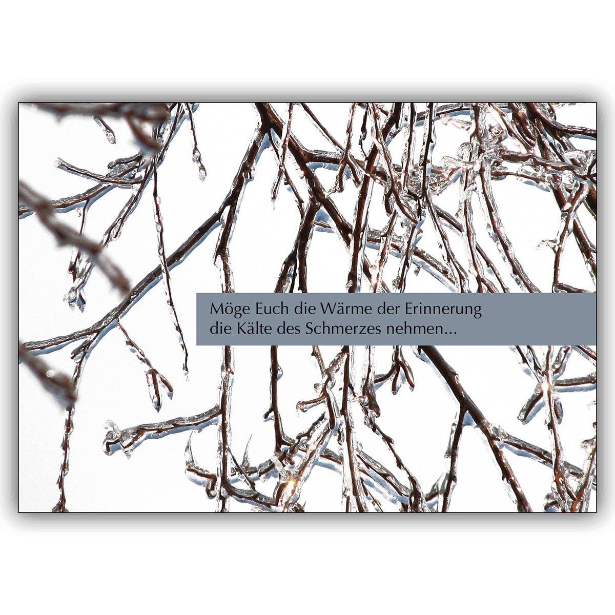Direkte Fertigung 12 Traueranzeigen    Winter innen ihr Text. Motiv   Möge Euch die Wärme der Erinnerung die Kälte des Schmerzes nehmen…  den traditionell gestalteten Text drucken wir innen - nur Schrift auswählen zzgl 12 Papier E a7b8ad