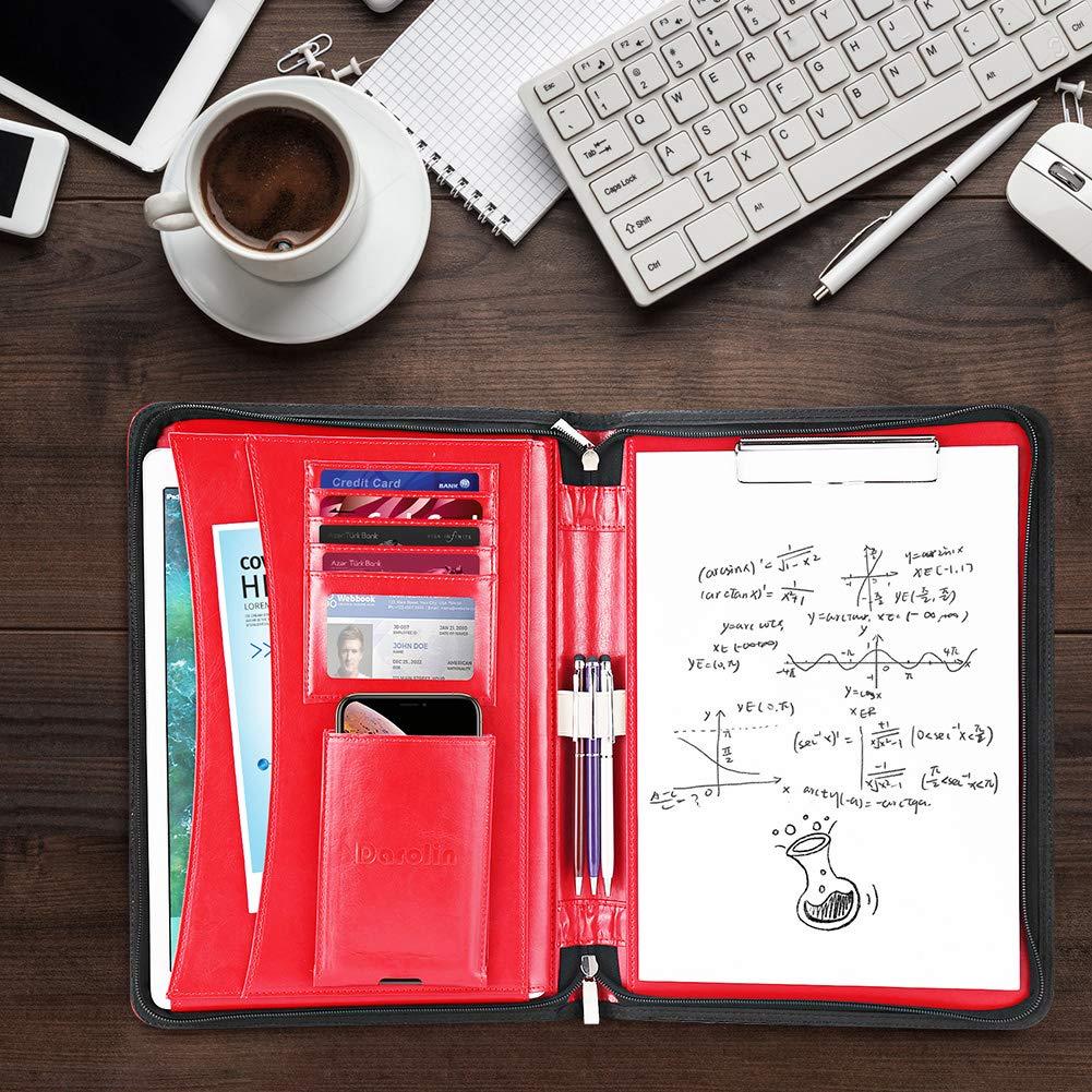 Clipboard Portfolio Bag Portfolio Padfolio for Women//Men-Brown Hidden Handle Business Conference Portfolio Organizer Notepad Folder and Darolin Zippered Leather Padfolio Portfolio Case with