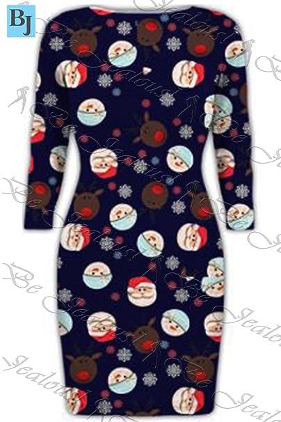 Oops Outlet Damen Neuheit Weihnachten Pinguin Candy-stick Glitzer Bedruckt  Langärmlig Weihnachten Bodycon Minikleid -