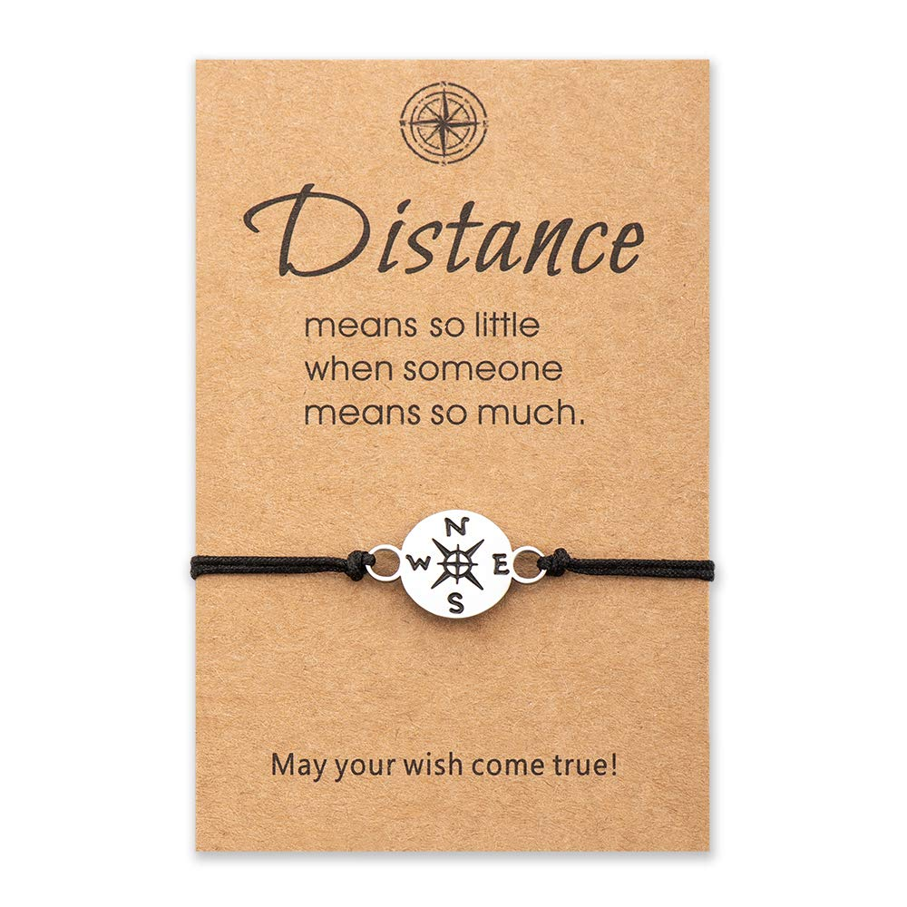 Lesbian girlfriend gift Long distance friendship Compass gift for her Charm Long distance relationship bracelet Gift for girlfriend
