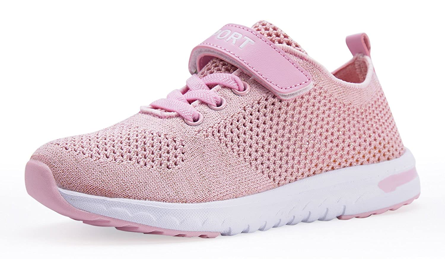 Casbeam Breathable Ventilation Girls Sneakers with Flyknit Upper Vamp Lightweight Shoes