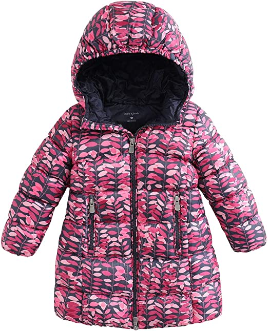 marc janie Girls Boys Light Weight Down Jacket Kids Removable Hooded Packable Down Puffer Coat Winter Outerwear