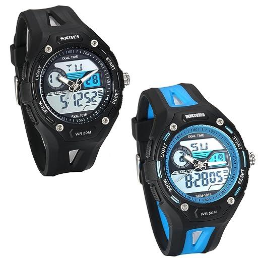 JewelryWe Relojes para Niños Niñas Analógico Reloj Deportivo Digital Para Aire Libre, Multifuncional Reloj Tiempo Dual, 5ATM A Prueba de Agua Buen Regalo, ...