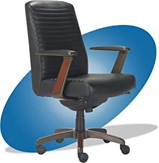 product image for La-Z-Boy Emerson Modern Executive Office Chair with Rich Wood Inlay, Ergonomic High-Back Lumbar Support, Bonded Leather, Black