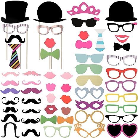 Foonii Photo Booth Atrezzo Favorecer Incluyendo cómica divertida creativa Bigotes Gafas Pelo Arcos Sombreros labios para el partido boda cumpleaños ...