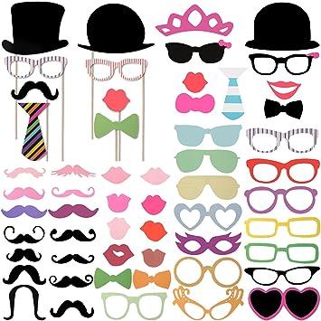 Gut gemocht Foonii 58PCS Accessoires Photobooth Bricolage Moustache Lunettes  DM56