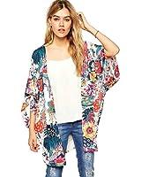 FEITONG Damen Sommer Beiläufige Blumendruck Chiffon Kimono Strickjacke Bluse Tops