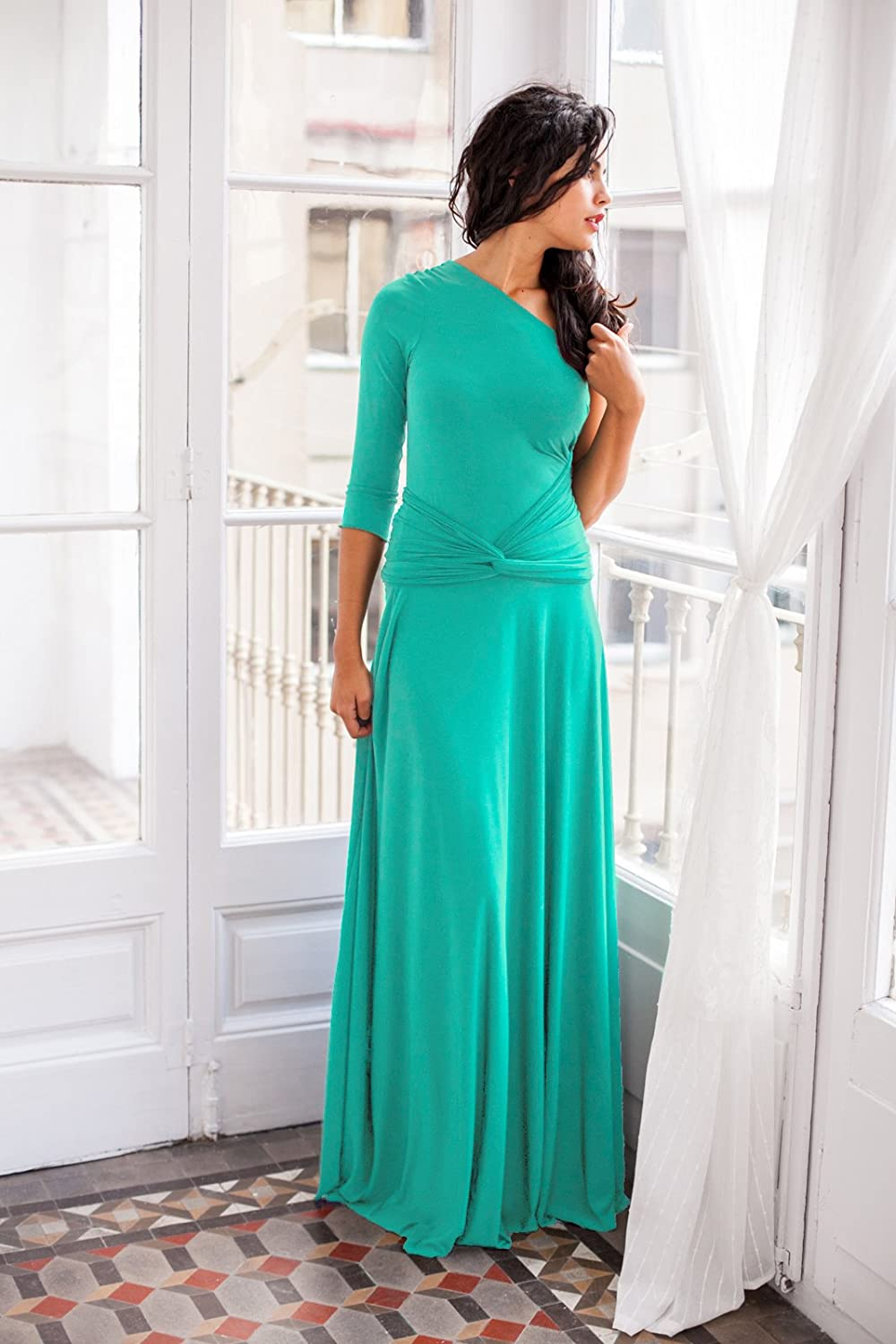 Amazon.com: Wedding guest dress, light turquoise dress with sleeves, long light turquoise dress, long sleeve dress, long turquoise wrap dress for event: ...