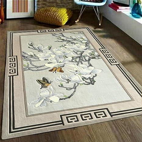 Rollsnownow Moderno Abstract Alfombras alfombras Alfombrillas Alfombrillas de café Alfombra material canoso gris Flores rectangulares de ...