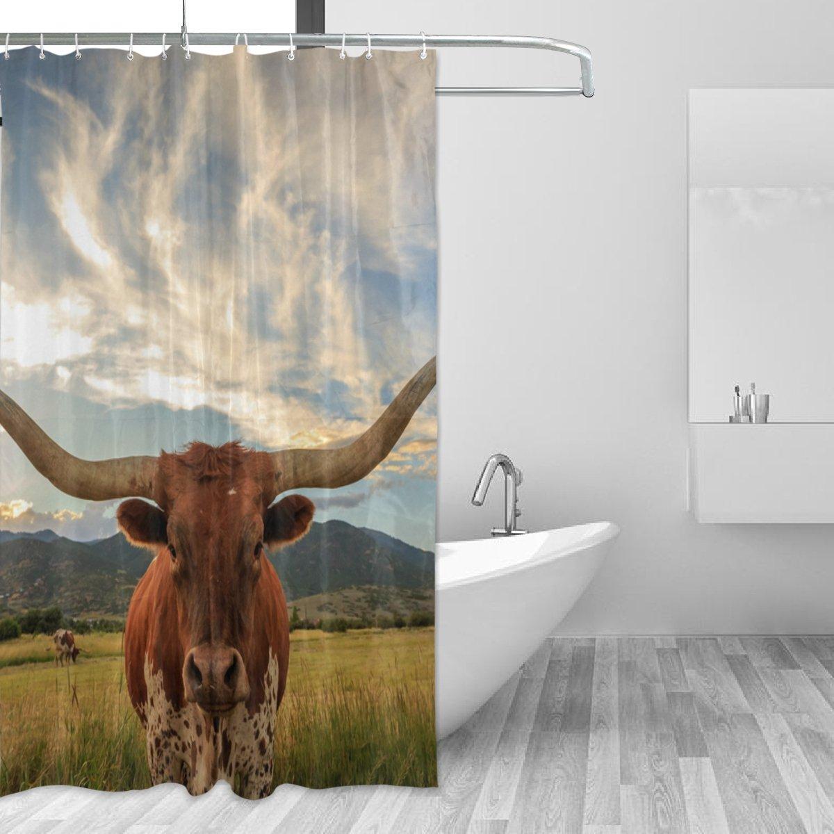 Amazon.com: La Random Bathroom Shower Curtain Texas Longhorn Steer ...