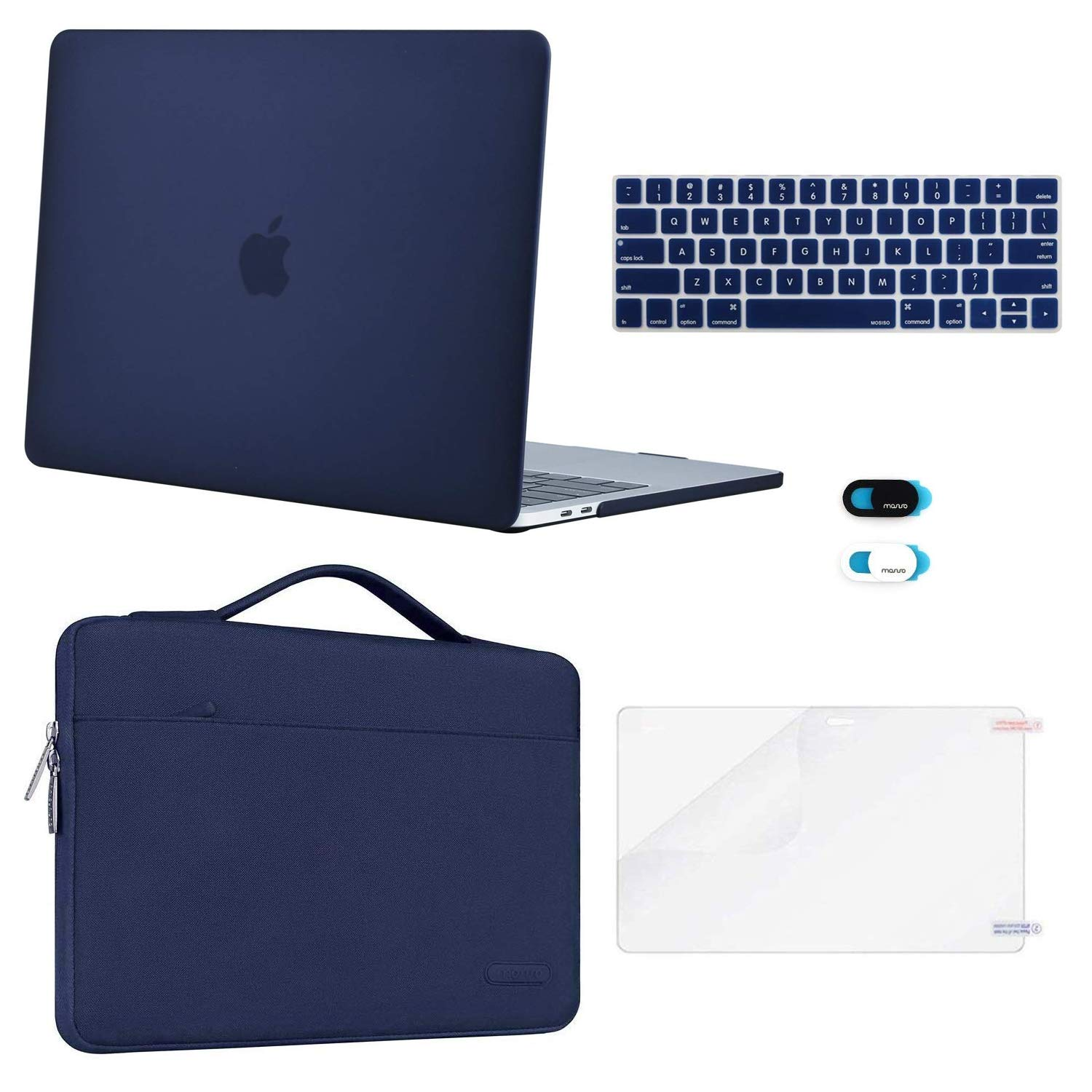 MOSISO MacBook Pro 13 inch Case 2019 2018 2017 2016 Release A2159 A1989 A1706 A1708, Plastic Hard Case&Sleeve Bag&Keyboard Skin&Webcam Cover&Screen Protector Compatible with Mac Pro 13, Navy Blue by MOSISO