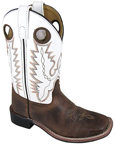 c1e642a7571 Smoky Children's Jesse Embroidered Leather Western Cowboy Boots - Brown  Crackle