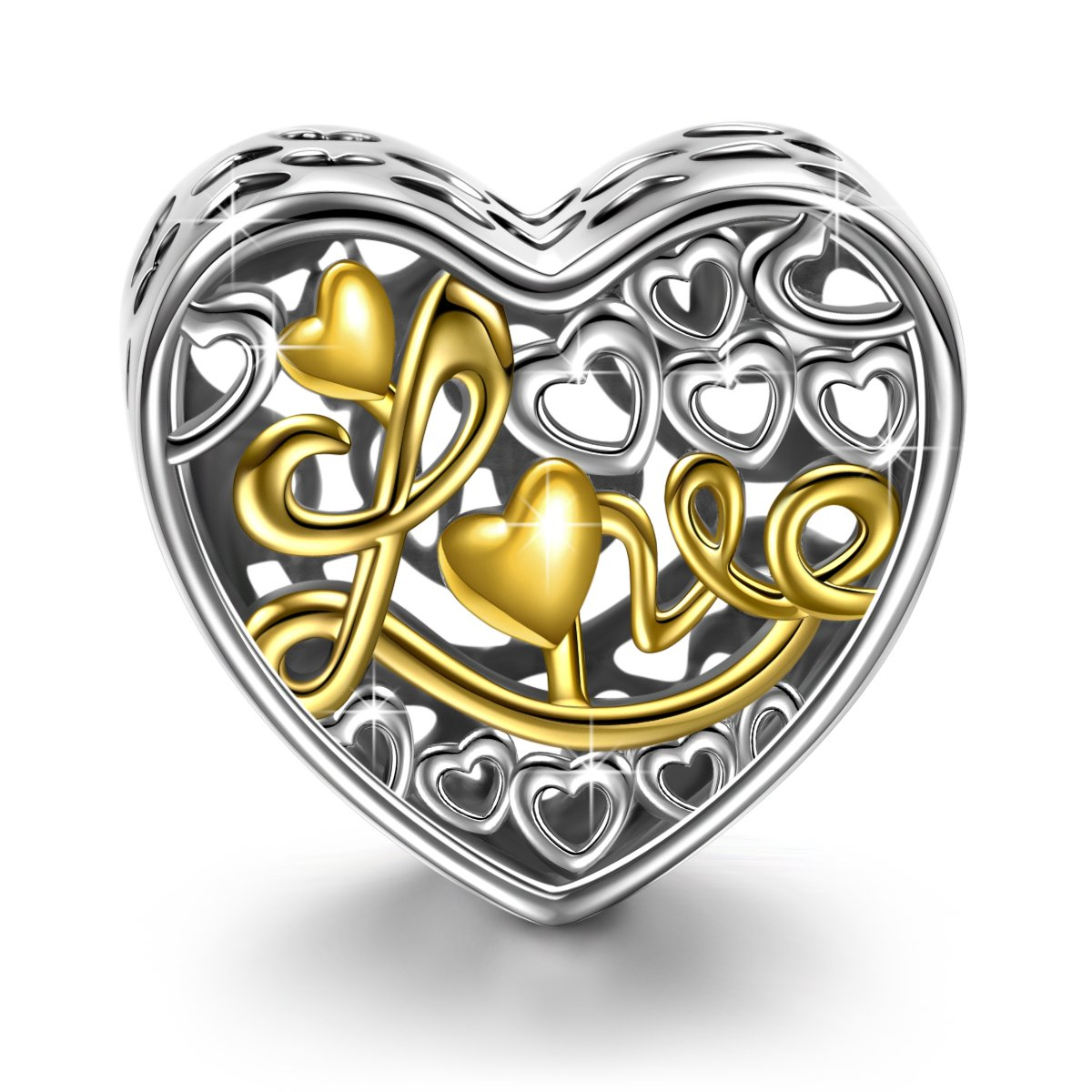 NINAQUEEN ♥Love♥ 925 Sterling Silver Engraved Charm plated with Gold compatible with Standard Bracelet Best Choice for Women Girls