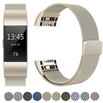 HUMENN For Fitbit Charge 2 Strap Bands, Luxury Milanese Stainless Steel  Adjustable Strap with Magnetic Closure for Fitbit Charge2 Rose Gold Silver