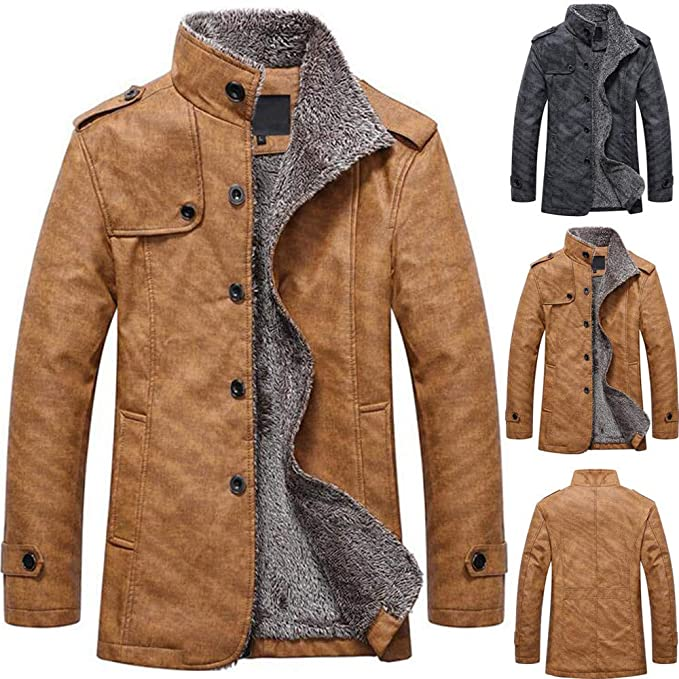 c0c7997d6abc kemilove Men s Casual Sherpa Fleece Lined Jacket Warm Coat with Fur Collar  Button Winter Quilted Coat at Amazon Men s Clothing store