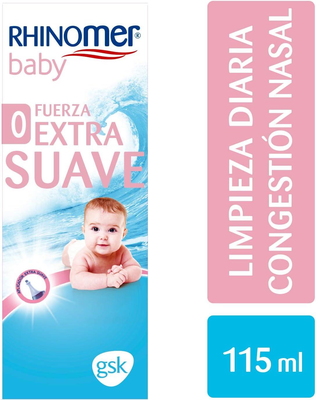 Rhinomer Baby - Spray nasal 100% agua de mar de origen natural, fuerza extra suave, para bebés - 115 ml
