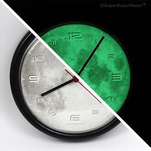 GLOW IN THE DARK REAL MOON bedroom wall clock BLACK Amazonco