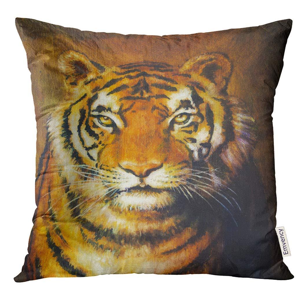 Almohada de Tiro Azul Animal Tiger Head Color Pintura al ...