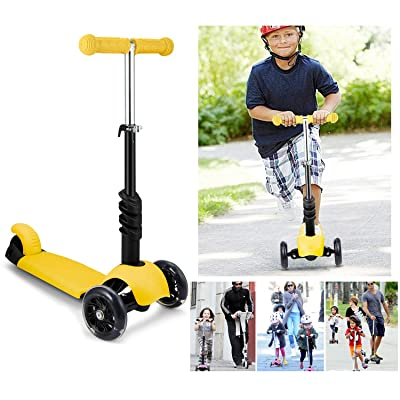 Etuoji Child Kids Mini Kick Scooter 3-Wheel Adjustable Height Handle T-Bar & Seat (Yellow)