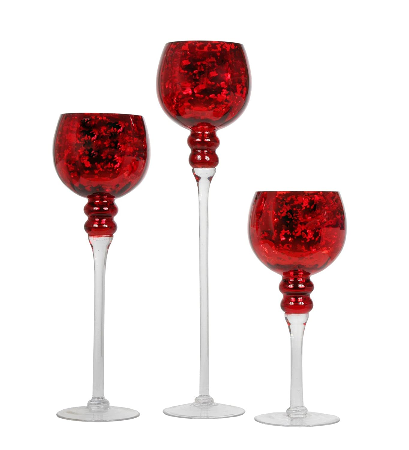 Red Crackle Mercury Glass Long Stem Hurricane Candle Holder Set of 3