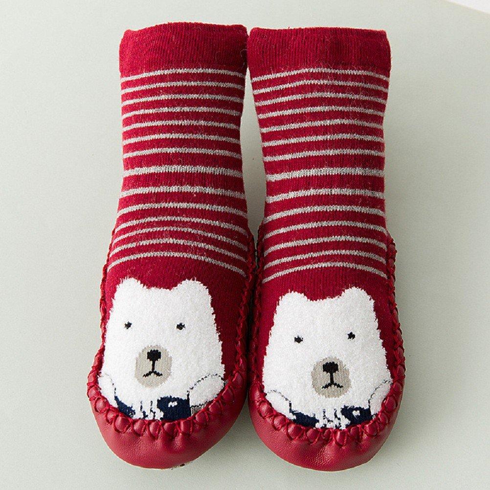 Baby Socks AMEIDD 3 Pairs Baby Boy Girl Cartoon Cute Thick Winter Warm Toddler Anti Slip Skid Grip Floor Socks Slipper Cotton Prewalker for 0-6 6-12 12-18 month