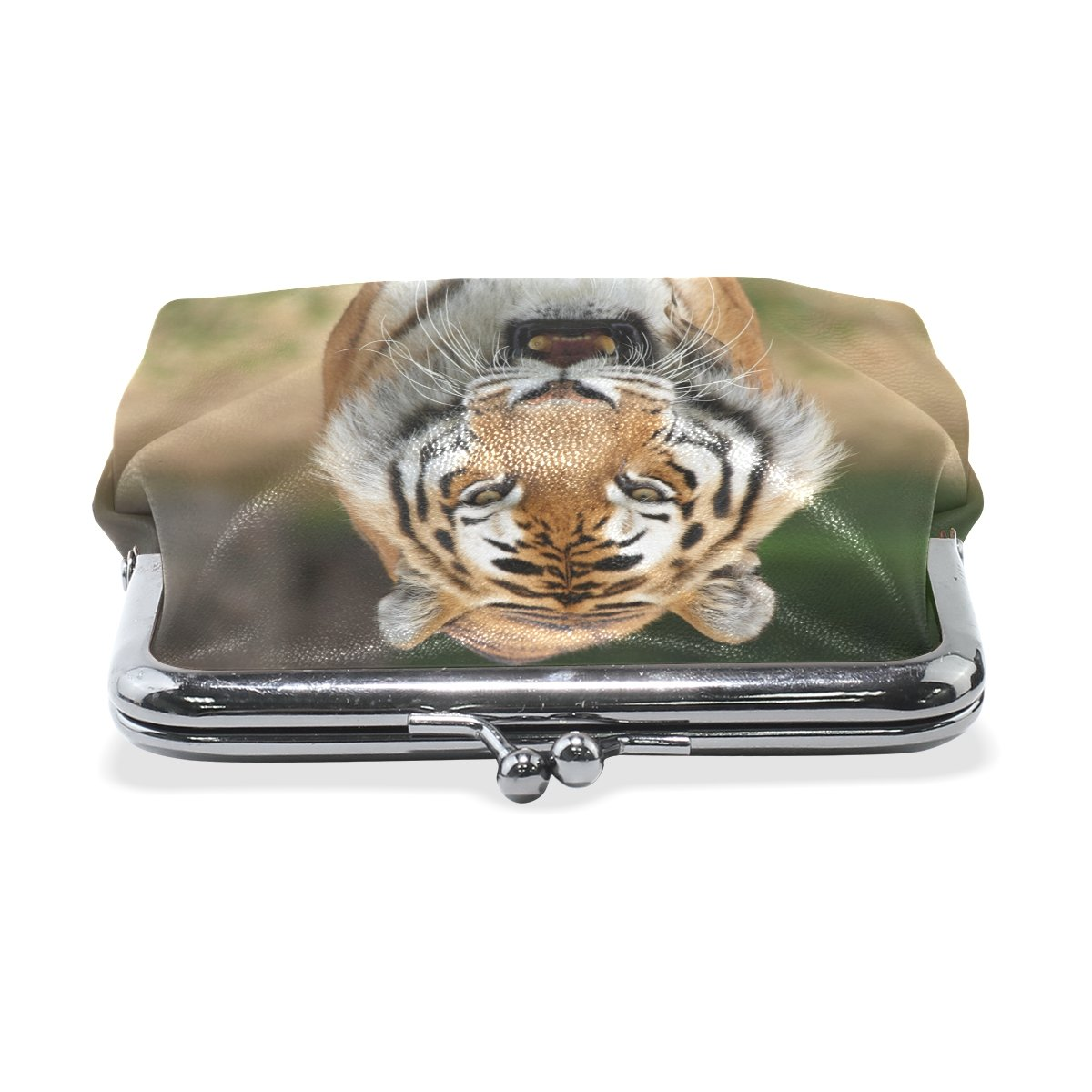 Tiger Pattern Print Coin Purse Mini Leather Hasp Handbag