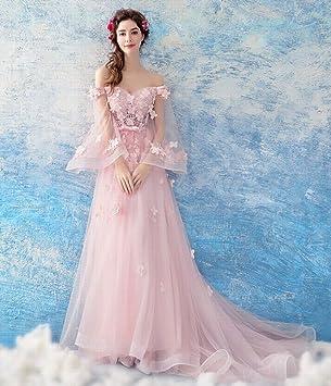 YT-RE Vestido de Novia sin Tirantes Perspectiva Rosa Vestido de Manga de Mariposa Trailing