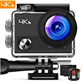 "APEMAN Action Camera 4K WiFi 16MP Waterproof Underwater Camera Ultra Full HD Sport Cam 30M Diving with 2"" LCD 170¡ã Wide-Angle, 2.4G Remote Control, 2 Rechargeable Batteries, 20 Accessories Kits"