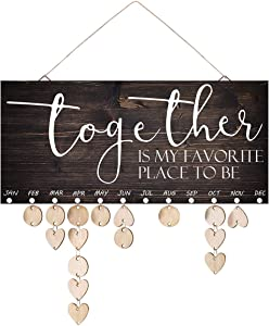 ElekFX Gifts for Mom Larger Wooden Family Birthday Reminder Calendar Board Birthday/Important Dates Tracker Home Decorative Plaque Wall Hanging(Together L)