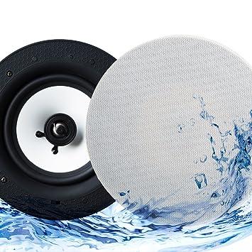 Echo Dot Compatible IP44 Bathroom Bluetooth Ceiling Speaker   Lithe Audio  (Pair Speakers (Master