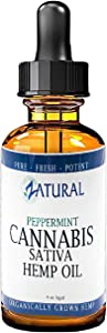 Hemp Oil_Natural Peppermint Extract_Pain Relief_Anti-Anxiety_Sleep Aid_Vegan Omegas (4 Ounce)