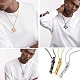 FOCALOOK Initial Necklace Black Gun Plated Bamboo