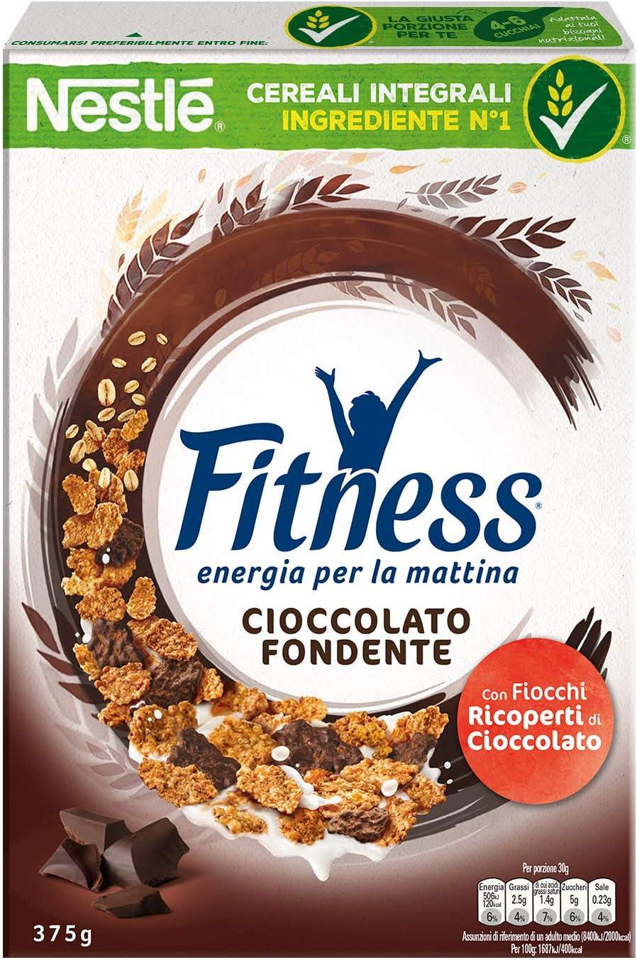Fitness Cioccolato Fondente Fiocchi di Cereali Ricoperti di Cioccolato Fondente, 375 g