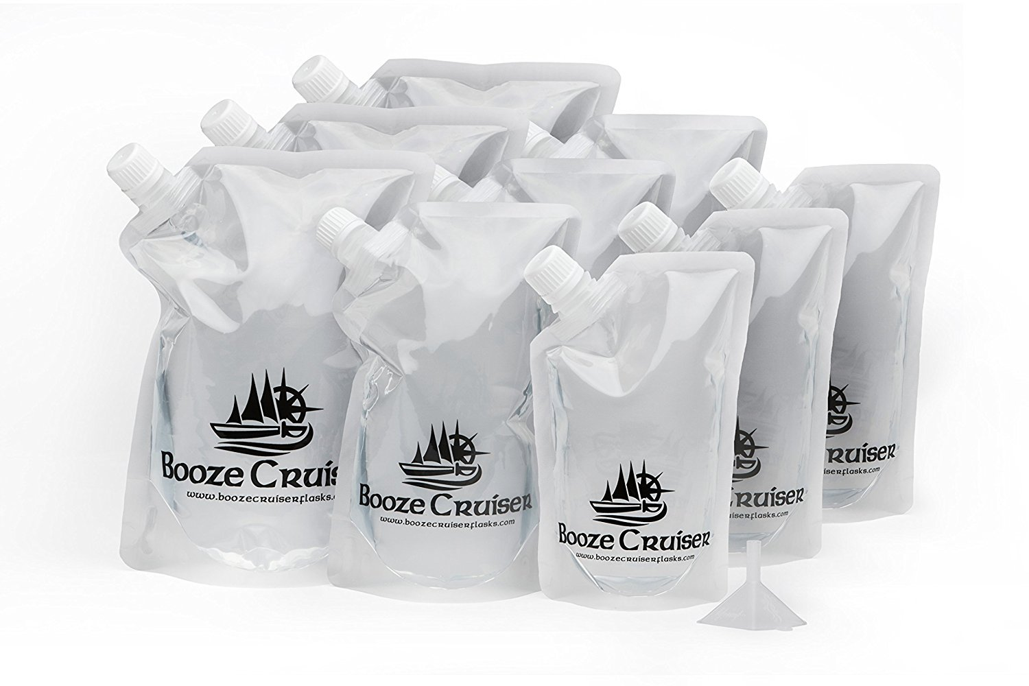 Booze Cruiser Flask Set Perfect For Cruises and Travel or Anywhere You Want a Rum Runner Cocktail Plastic Flask Kit (3x32oz, 3x16oz, 3x8oz + Funnel)