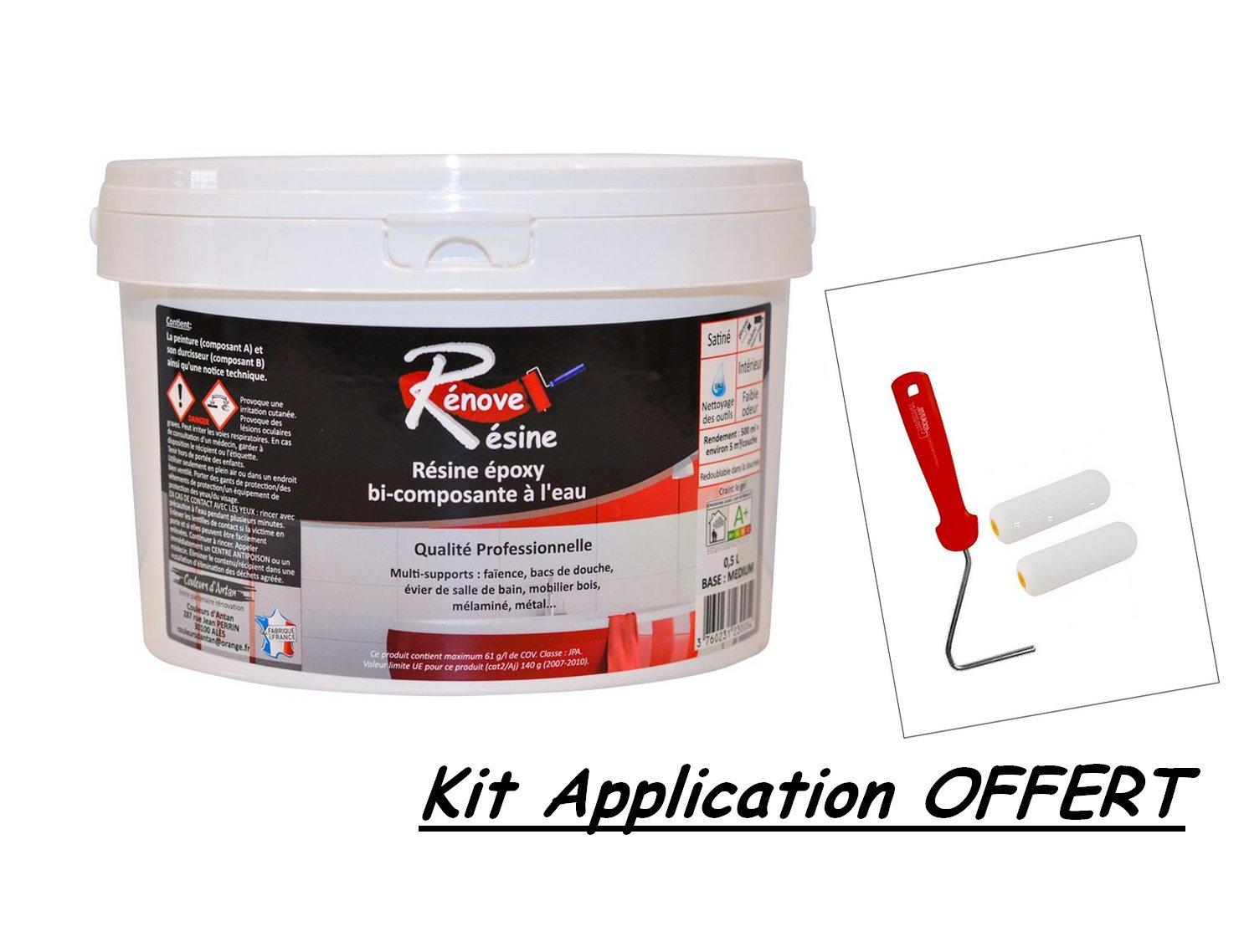 Peinture Ré sine 0.5L - Multisupport RAL 8019 - Brun gris - Faï ence, Carrelage, Douche, Baignoire - Kit d'application OFFERT Baignoire - Kit d' application OFFERT PEINTUROKILO
