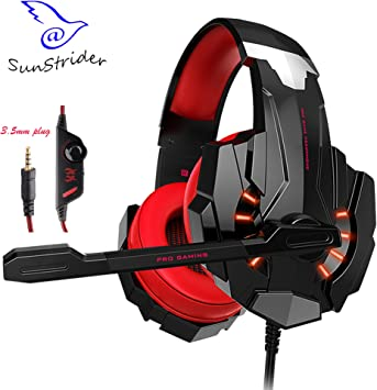 KOTION EACH G9000 Gaming Headset para Playstation 4 PS4 Tablet PC iPhone 7/6 / 6s / 7 Plus, 3.5mm Auriculares con micrófono LED Light (Rojo y Negro): Amazon.es: Electrónica