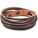 Chic Exquise Designs Handmade Genuine Vintage Leather Wrist Cuff Wrap Bracelet Adjustable