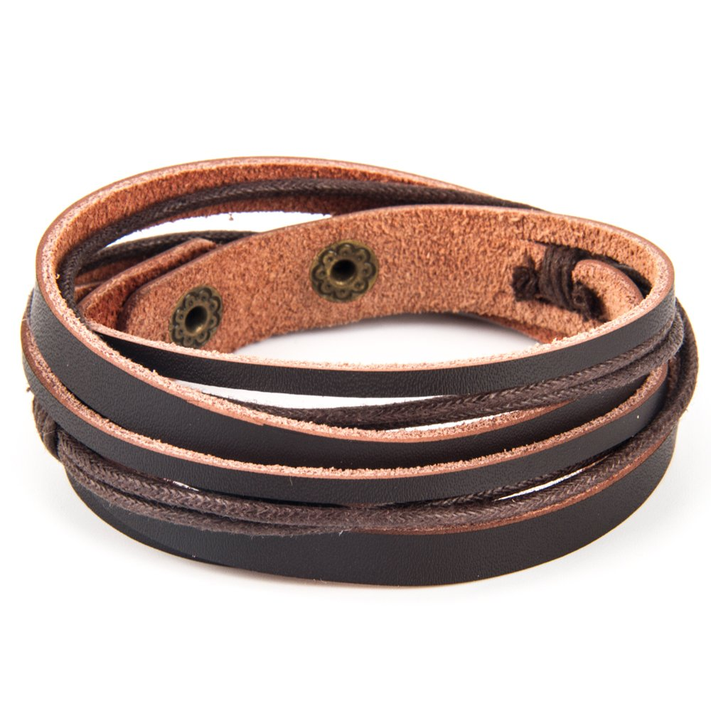 Chic Exquise Designs Handmade Genuine Vintage Leather Wrist Cuff Wrap Bracelet Adjustable (A: 1 Brown)