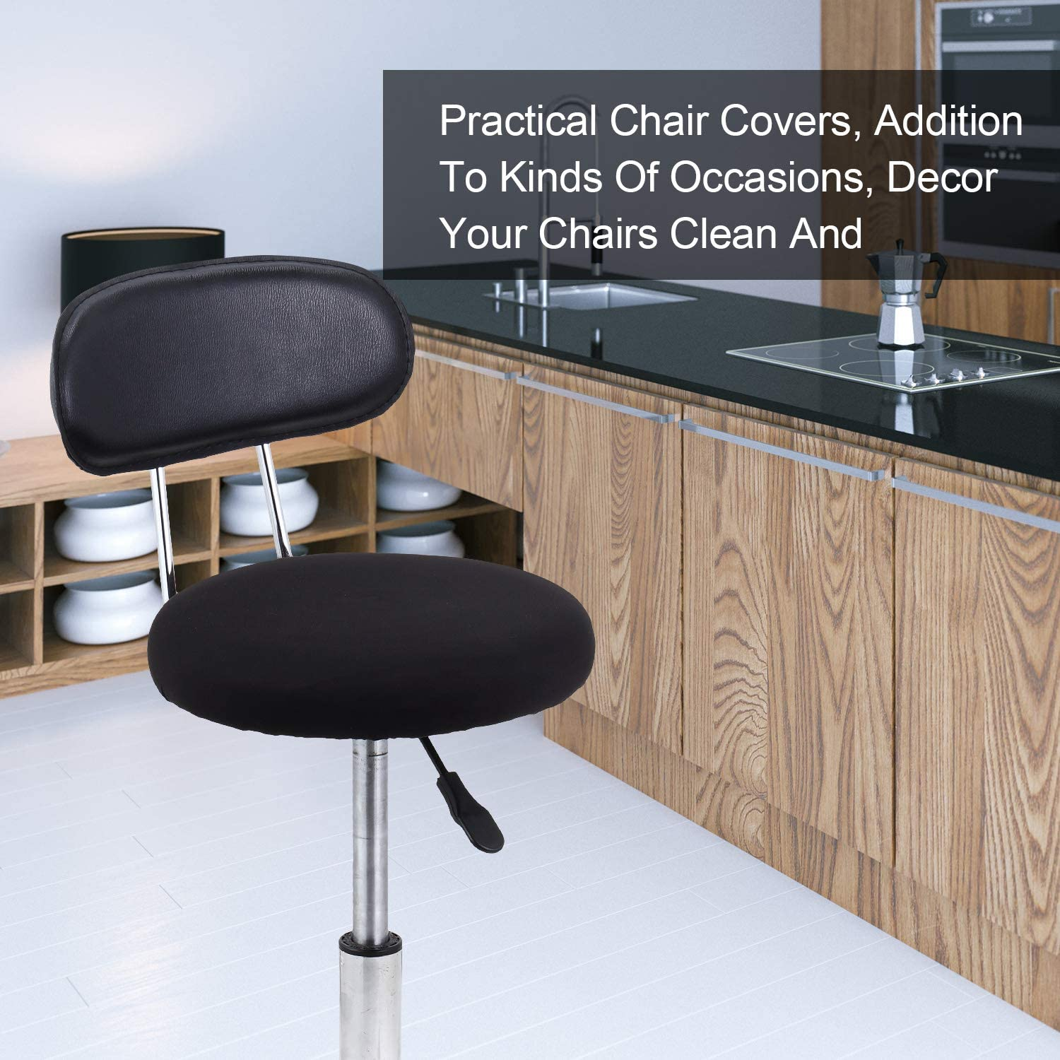 Tatuo 4 Pieces Round Bar Stool Covers Washable Stool Cushion Slipcover Elastic Bar Chair Covers for 14-17 Inch Chair Black