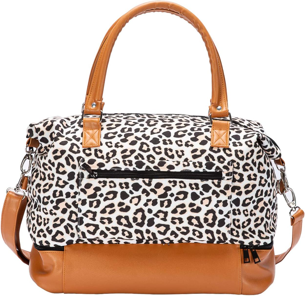 Women Travel Duffle Bag Canvas Carry On Tote Weekender Overnight Bag with PU Leather Shoulder Strap and Shoe Compartment Leopard