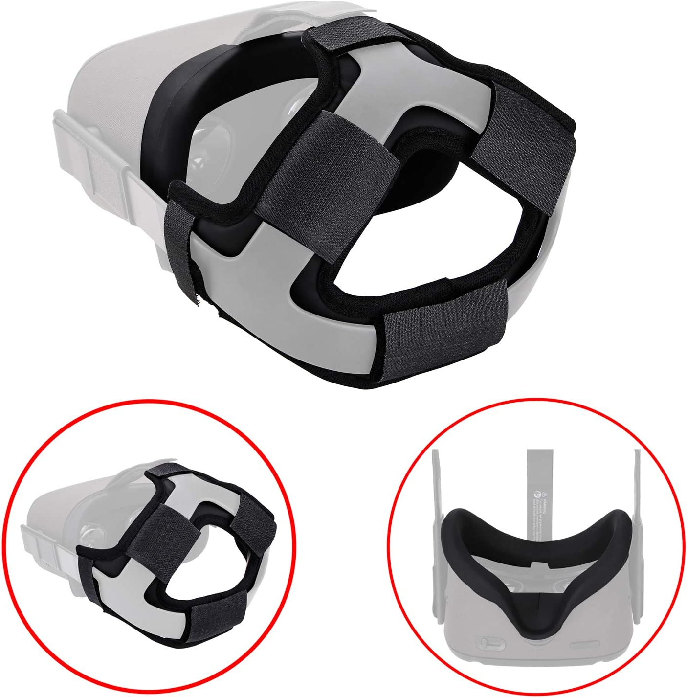 The Combo of VR Face Silicone Cover Mask Pad & Head Strap Pad Cushion Compatible for Oculus Quest Sweatproof Light Blocking (Washable) for Virtual Reality Headset (Black)