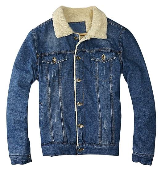 nouvelle collection conception de la variété sélectionner pour officiel Brinny Veste en Jeans Hiver Homme Revers épaisse Warm Manteaux Denim  Blouson Rembourré Jacket Doublure Velours Simple Boutonnage