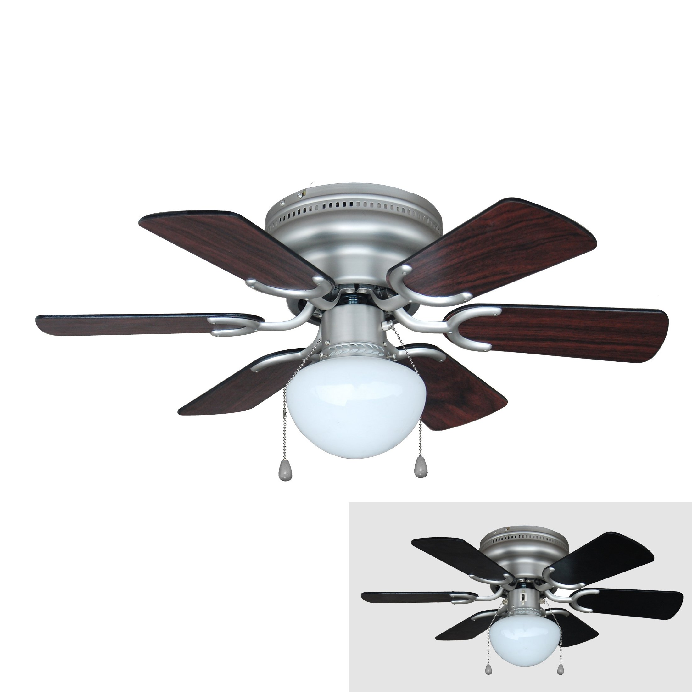 Hardware House 17-4725 Arcadia 30-Inch Satin Nickel Flush Mount Hugger Ceiling Fan, Black or Cherry Blades