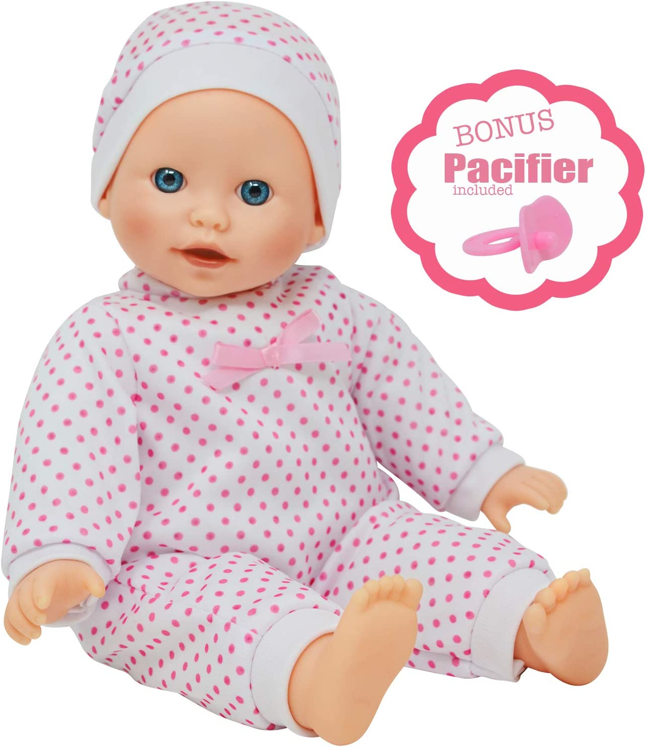 14 inch Soft Body Caucasian Baby Doll - Newborn Dolls for Girls with Doll Pacifier