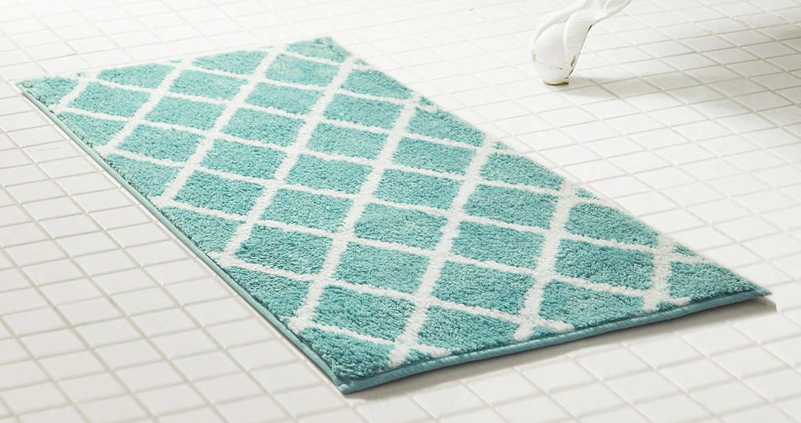 RT Designers Collection Chester 2 Piece Jacquard Microfiber Bath Mat Set in Aqua