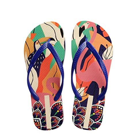0a965d2fa004 Image Unavailable. Image not available for. Color  flip flops Women  Designer Cartoon Print Slippers Beach Sandals ...