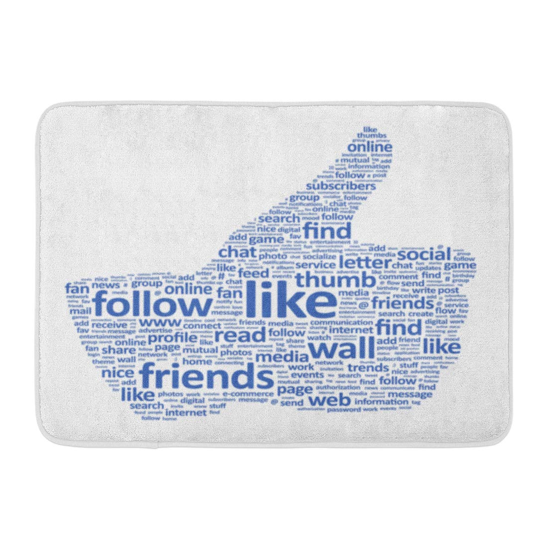 Emvency Doormats Bath Rugs Outdoor/Indoor Door Mat Network of The Thumbs Up Symbol Which is Composed Text Keywords on Social Media Themes White Like ...