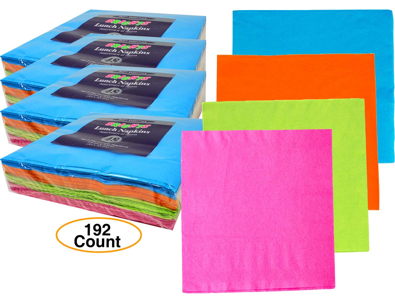 Neon Color Colored Premium Napkins 13'' x 13'' 2 Ply for Party (192 Count) by NW Party