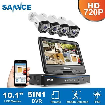 SANNCE Kit de Seguridad 4CH DVR con monitor y 4 Cámaras de vigilancia 720P(Onvif
